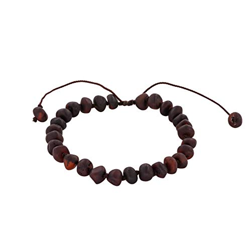 "Adjustable Knotted Adult Baltic Amber Bracelet, (6.3"" + 3.5"") Unisex, Carpal Tunnel Natural Remedy (Raw Cherry)"