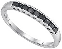10kt White Gold Womens Princess Black Colored Diamond Band Ring 1/4 Cttw