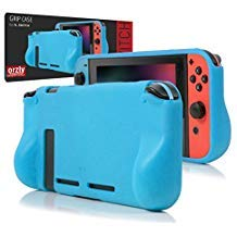 Orzly Comfort Grip Case for Nintendo Switch - Protective Back Cover for use on The Nintendo Switch Console in Handheld Gamepad Mode with Built in Comfort Padded Hand Grips - Blue (Back Case The On)