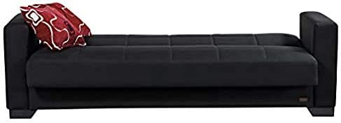 BEYAN SB 2019 Black Vermont Modern Chenille Fabric Upholstered Convertible Sofa Bed with Storage, 84