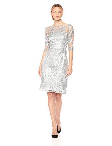 Tahari by Arthur S. Levine Women's Dress with Mesh Top and Rhinestone Emb, Silver, 12 by Tahari by Arthur S. Levine