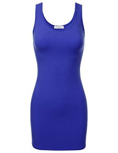FLORIA Womens Scoop Neck Fitted Stretch Bodycon Mini Tank Sexy Dress RoyalBlue L (Tee Neck Beaded Scoop)