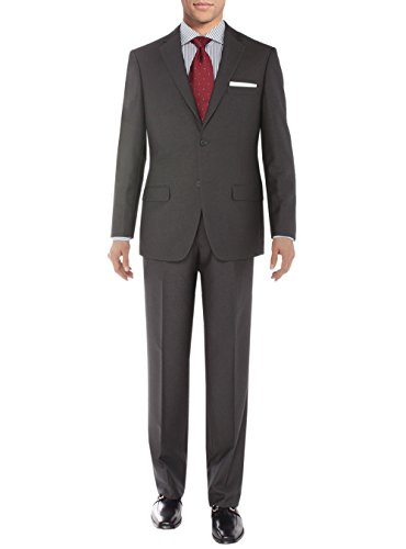 Salvatore Exte Men's Modern Two Button Sharkskin Suit (42 Long US / 52L EU / W 36