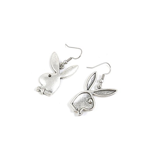 (1 Pairs Earrings Antique Silver Tone Fashion Jewelry Making Charms Ear Stud Hooks Suppliers Wholesale YE4A3825 Playboy Rabbit)