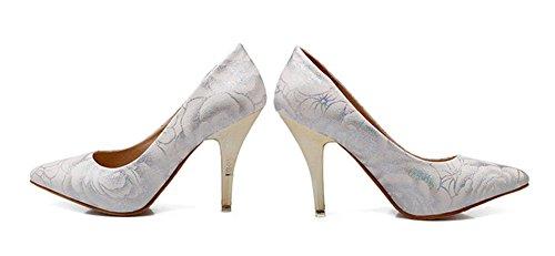 Femme Pointu Bout Aisun Fleur Imprimé Escarpins Blanc Mode zqFdwFxv