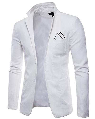 Business Elegant Slim Blazer Casual Blanc Costume Un Homme Bouton Fit Anyua Xq6fWA