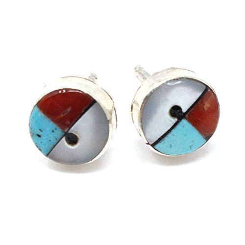 Zuni Silver Imitation Turquoise, Jet, Coral & Shell Sun Face Dot Earrings | 1/4