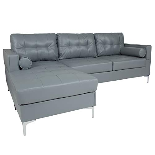 Flash Furniture Riverside Upholstered Tufted Back Sectional with Left Side Facing Chaise and Bolster Pillows in Gray - Chrome Sectional Chaise