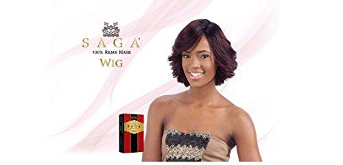 SAGA 100% Remy Human Hair Wig - LAVENDER (4 - Med Brn) (Saga Human Hair Wigs)