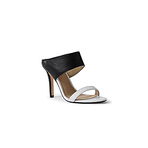 Canvas by Lands' End Women's Slide Heeled Sandals, 9, Black/White