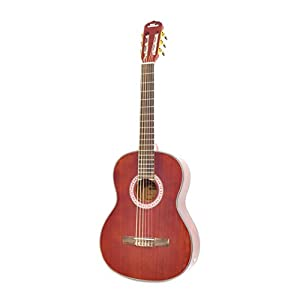 """Classical Acoustic Guitar Starter Pack - 39.5"""" 6 String Mahogany High-Gloss Polished Guitar w/Built-in Preamplifier, Case Bag, 6 Nylon Strings, Tuner, Picks, Great for Beginner - Pyle PGA32RBR"""
