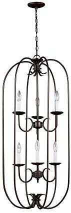 Sea Gull Lighting Sea Gull 51807-782 Transitional Six Light Hall Foyer Pendant from Holman Collection Dark Finish, Heirloom Bronze