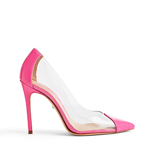 SCHUTZ Women's Cendi Pointed-Toe Leather Dress Pump Neon Pink ()