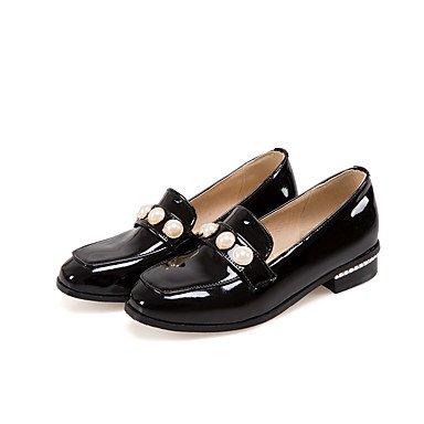 Cómodo y elegante soporte de zapatos de las mujeres pisos primavera verano otoño invierno otros cuero sintético oficina y carrera vestido casual Flat Heel Beading negro ejército verde negro