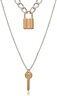 Layered Necklace Lock Key Pendant Keychain Punk Chunky Gold Necklace Long Chain Statement Choker for Women Men