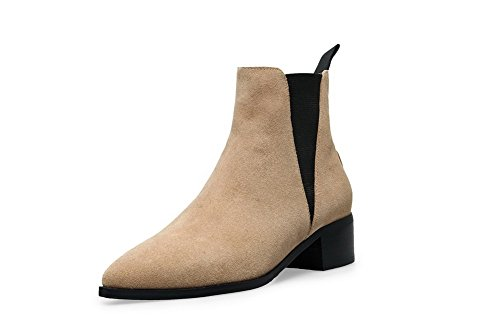 AmoonyFashion Womens Pointed-Toe Closed Toe Low-Heels Boots With Thread and Rubber Soles Beigecowimitatedsuede