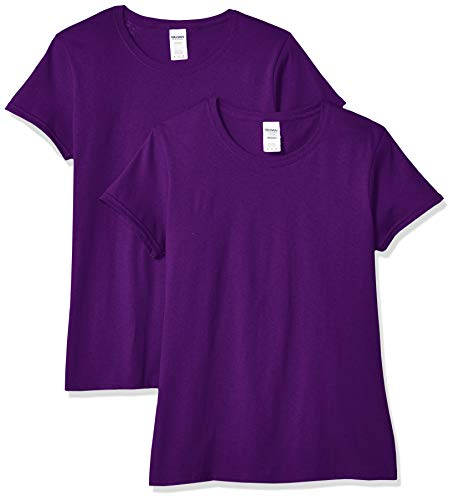 Gildan Women's Heavy Cotton Adult T-Shirt, 2-Pack, Purple, X-Large]()