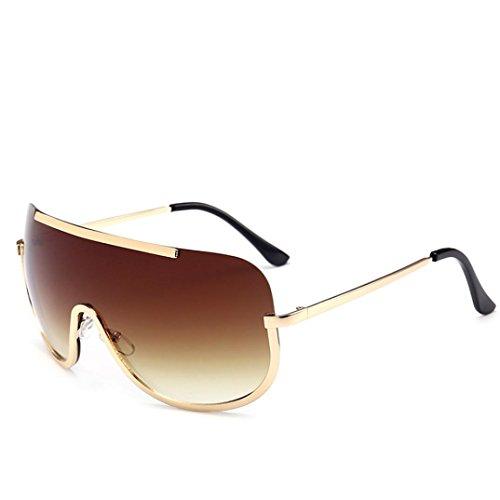 DDLbiz 2018 Women Vintage Retro Glasses Unisex Fashion Aviator Mirror Lens Sunglasses (Brown) (Brown Lens Glass)