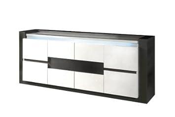 Buffet 4 portes RIMINI Noir/Blanc: Amazon.fr: Cuisine & Maison
