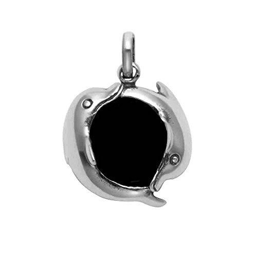 Wild Things Sterling Silver 2 Dolphins Swimming Around a Simulated Black Onyx Ball Pendant