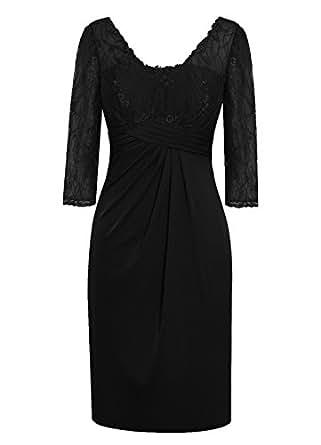 Dresstells Knee Length Mother of Bride Dress Chiffon Bridesmaid Party Dress Black Size 2