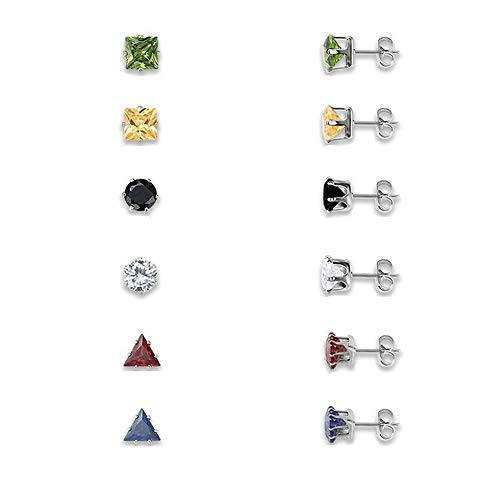 Herinos Stainless Steel Stud Earrings Set Cubic Zirconia 6 Pairs Titanium Earrings Round Square Triangle for Women Girls, Colorful