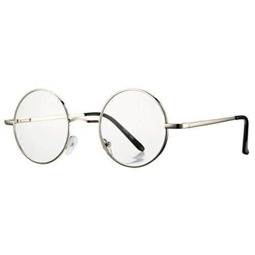 COASION Retro Small Round Circle Clear Lens Glasses Metal Frame Non-Prescription (Silver, - Kids Glasses For Stylish