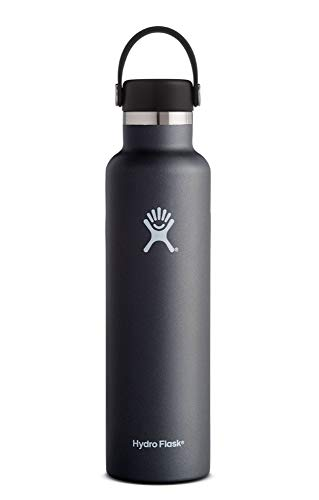 (Hydro Flask 24 oz Water Bottle | Stainless Steel & Vacuum Insulated | Standard Mouth with Leak Proof Flex Cap | Black)