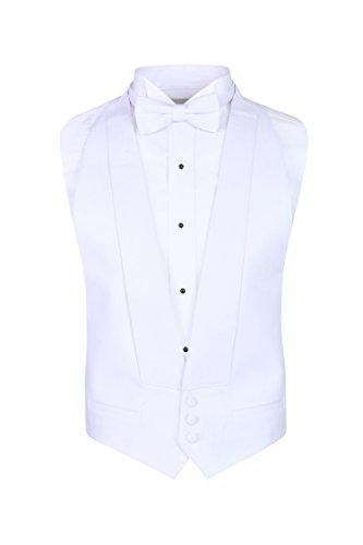 S.H. Churchill & Co. White Pique Vest & Pre Tied Bow Tie - (FITALL, (Vest Tie)