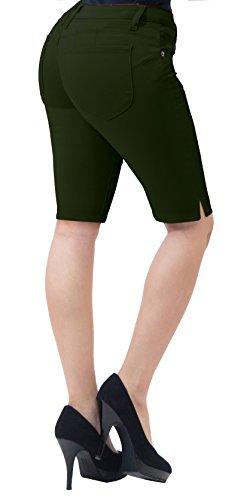 HyBrid & Company Super Comfy Stretch Bermuda Shorts B43308 Olive 3 (Bermuda Olive)
