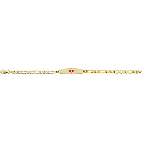 Women's 14k Yellow Gold Red Enameled Medical ID Bracelet - 7 inches with Lobster Clasp