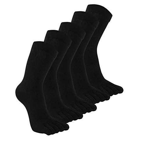 4a80b47176c7e Mens Cotton Winter Toe Socks Black Blue Grey White Running Socks ...