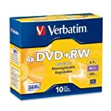 Verbatim 4.7 GB 1x- 4x ReWritable Disc DVD+RW, 10-Disc Slim Jewel Case 94839 SOLD BY Prefectmart THANK YOU