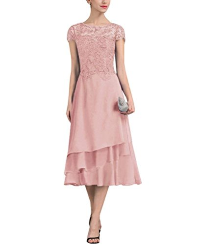 PearlBridal Women's A-Line Chiffon Lace Mother of The Bride Dresses Cap Sleeves Tea Length Evening Formal Dress Blush Size 8