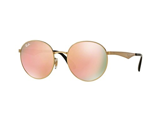Ray-Ban Women's Highstreet Round Sunglasses, Gold/Brown Mirror Pink, One - Gold Ban Ray Highstreet