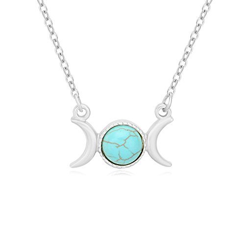 Triple Moon Goddess Symbol Semi-Precious Stones Pendant Necklace 18