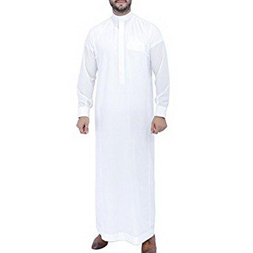 Al Hobish Men Saudi Style Thobe Thoub Abaya Robe Daffah Dishdasha Islamic Arabian Kaftan (56) -