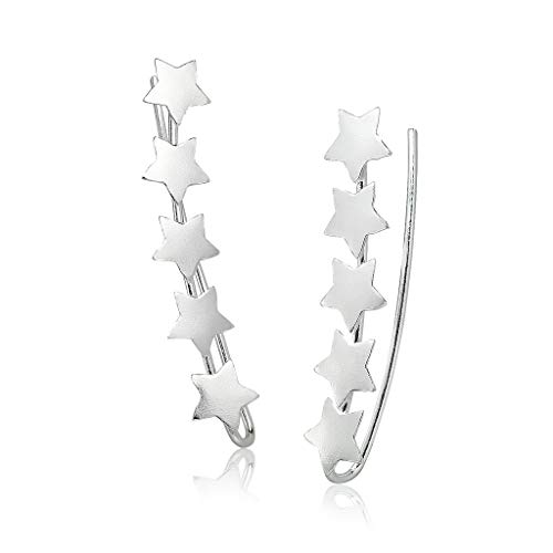 Big Apple Hoops - Genuine 925 Sterling Silver ''Basic and Simple'' Star Line Climber Earrings | in 4 Beautiful Polish Finishes (Silver, Yellow Gold, Rose Gold, Black ()