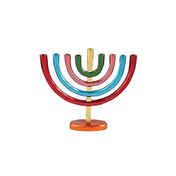 World Of Judaica Yair Emanuel Anodized Aluminum Hanukkah Menorah with Bright ()