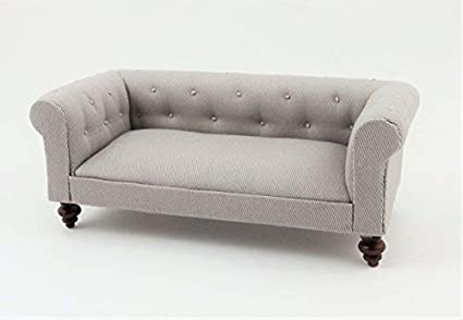Melody Jane Dolls House Grey Chesterfield Sofa Miniature Living Room Furniture