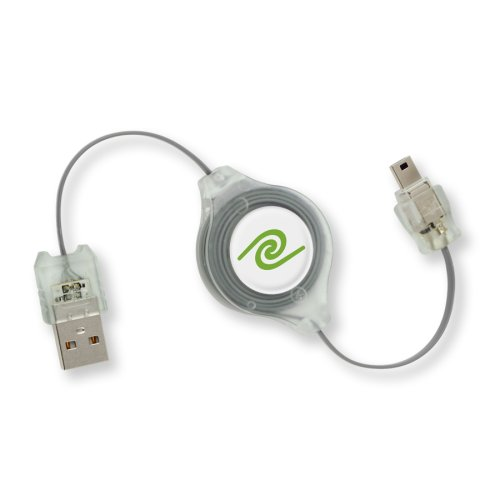 ReTrak Lighted RED Retractable USB 2.0 A-Male to Mini 5-Pin Cable (ETCABLERU2XLRM5) ()