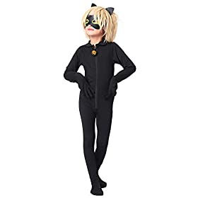 - 31xDvsB02OL - JOYEAR Kid's Costume Ladybug Cat Noir Boy or Girl Cosplay Clothing Black Cat Noir Jumpsuit Halloween Party Masquerade
