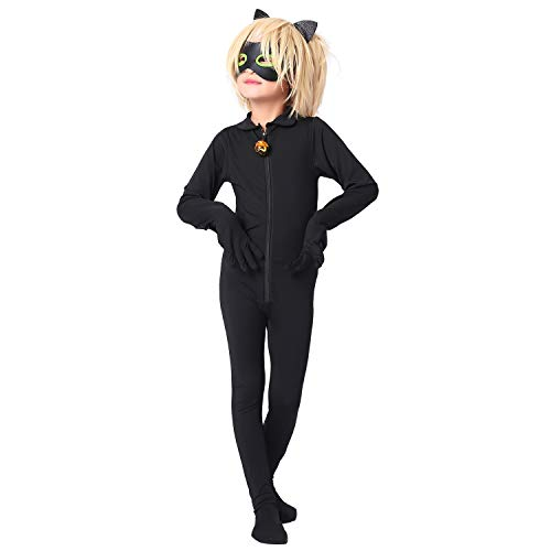 Modi Kid's Ladybug Cat Noir Cosplay Jumpsuit Boy's Girls Costume for Halloween Christmas Party Jumpsuit (Wig, XL)
