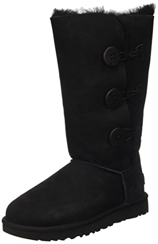 UGG Women's Bailey Button Triplet II Winter Boot, Black, 9 B US (Boots Uggs Knit)