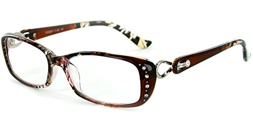 Stargaze Multicolored, Rx-Able Floral Reading Glasses with Crystals for Women (Brown -