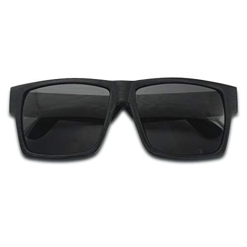 (Original Classic Faux Camouflage Wood Print Square Casual Wear Sunglasses for Men and Women (Black Wood | Black))