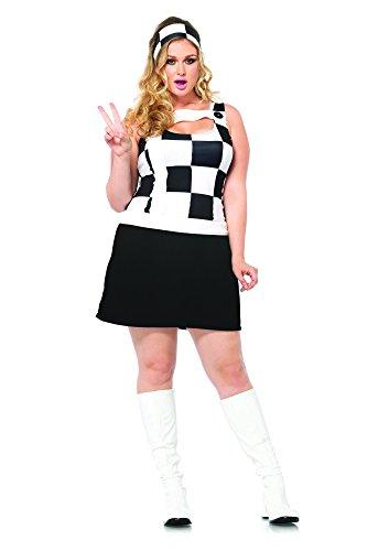 Trippy Costumes (Leg Avenue Women's Plus-Size 2 Piece Trippy Trixie Retro Costume, Black/White, 3X/4X)