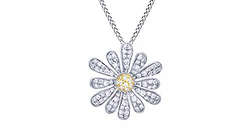 Jewel Zone US 0.5 Ct White Natural Diamond Daisy Flower Pendant Necklace Two-Tone 925 Sterling Silver