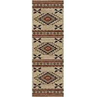 23 x 77 Tan Brown Southwestern Runner Rug Rectangle, Indoor Red Beige Southwest Pattern Tribal Native American Theme Hallway Carpet Entryway Chevron Zigzag Cabin Lodge Entrance Way, Polypropylene