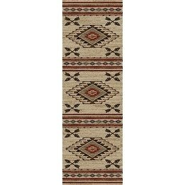2'3 x 7'7 Tan Brown Southwestern Runner Rug Rectangle, Indoor Red Beige Southwest Pattern Tribal Native American Theme Hallway Carpet Entryway Chevron Zigzag Cabin Lodge Entrance Way, - Runner Rug Tribal